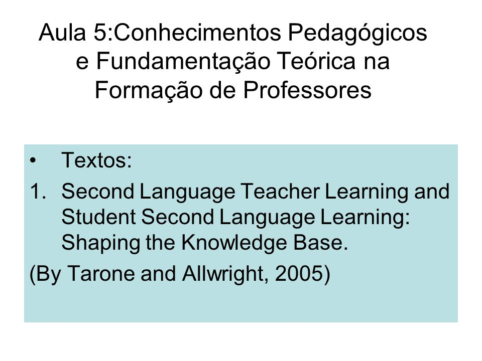 Uma Resenha crítica ao artigo de Freeman and Johnson (1998): Artigo: Reconceptualizing the Knowledge- Base of Teacher Education.