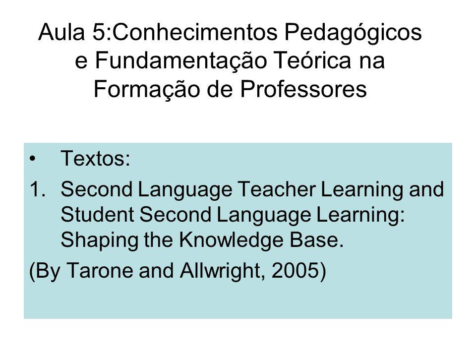 Aula 5:Conhecimentos Pedagógicos e Fundamentação Teórica na Formação de Professores Textos: 1.Second Language Teacher Learning and Student Second Lang