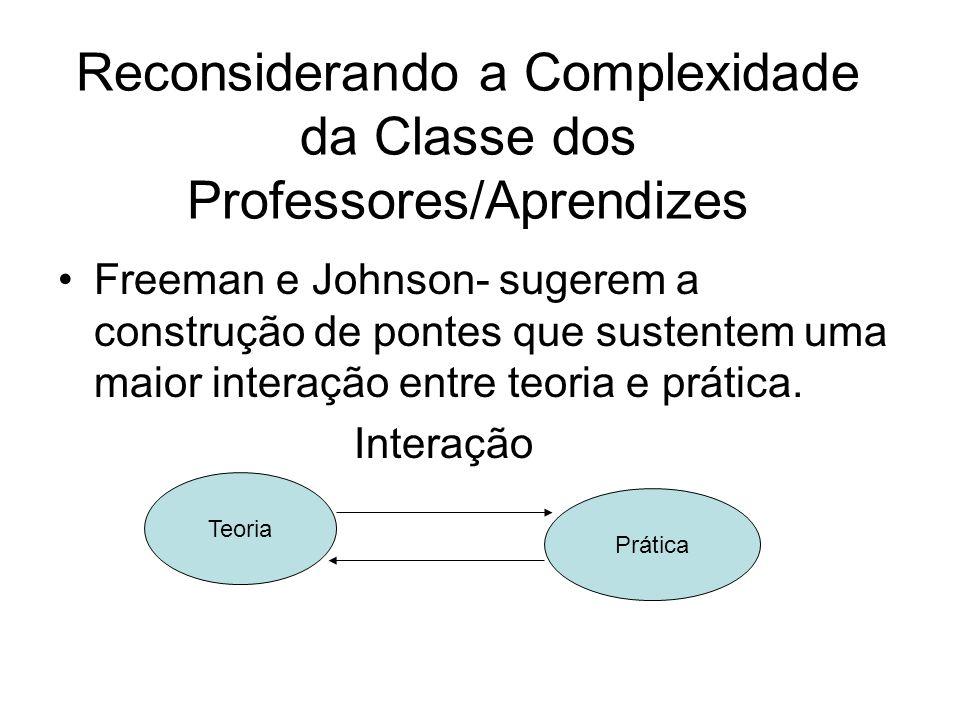 Reconsiderando a Complexidade da Classe dos Professores/Aprendizes Freeman e Johnson- sugerem a construção de pontes que sustentem uma maior interação