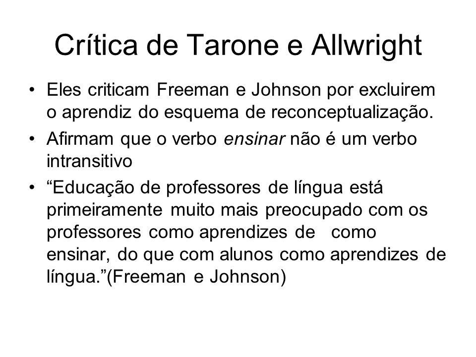 Crítica de Tarone e Allwright Eles criticam Freeman e Johnson por excluirem o aprendiz do esquema de reconceptualização. Afirmam que o verbo ensinar n