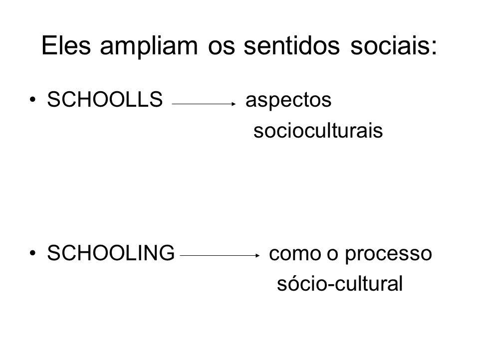 Eles ampliam os sentidos sociais: SCHOOLLS aspectos socioculturais SCHOOLING como o processo sócio-cultural