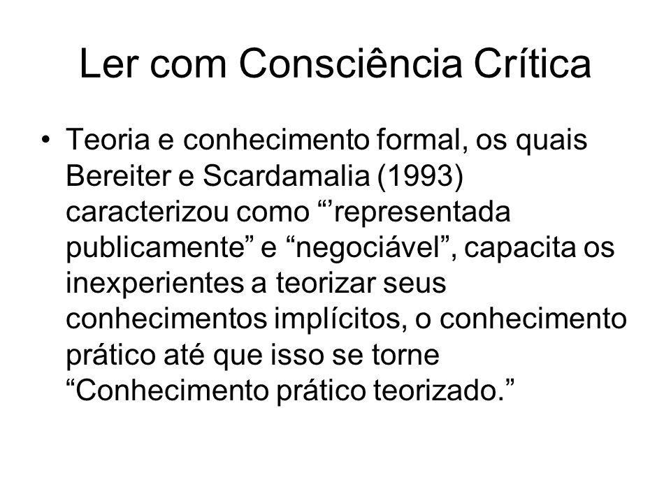 Ler com Consciência Crítica Teoria e conhecimento formal, os quais Bereiter e Scardamalia (1993) caracterizou como representada publicamente e negociá