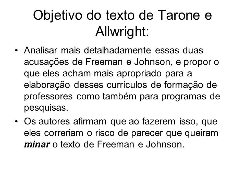 Objetivo do texto de Tarone e Allwright: Analisar mais detalhadamente essas duas acusações de Freeman e Johnson, e propor o que eles acham mais apropr