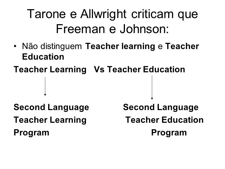Tarone e Allwright criticam que Freeman e Johnson: Não distinguem Teacher learning e Teacher Education Teacher Learning Vs Teacher Education Second La