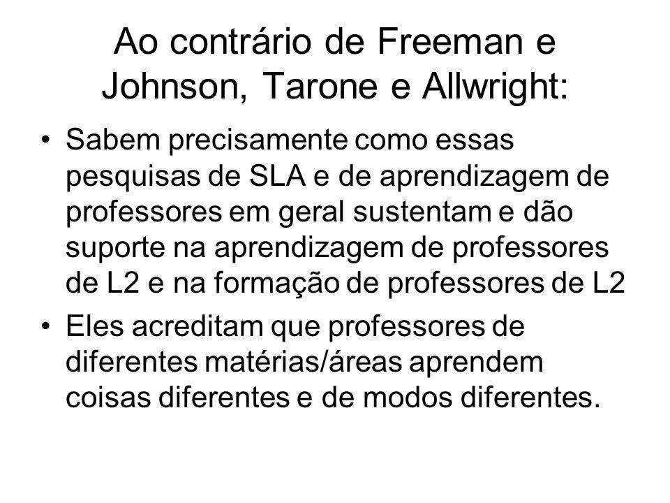 Ao contrário de Freeman e Johnson, Tarone e Allwright: Sabem precisamente como essas pesquisas de SLA e de aprendizagem de professores em geral susten