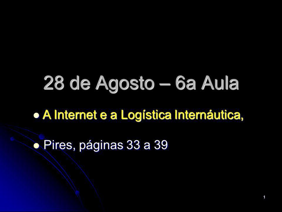 2 Plano de Aulas em Execução -- A Internet e a Logística Internáutica, -- A Internet e a Logística Internáutica, 6a – 28 de agosto, 2008 – Pires, páginas: 33 a 39 6a – 28 de agosto, 2008 – Pires, páginas: 33 a 39 -- Sistemas Produtivos -- Sistemas Produtivos 7a – 2 de setembro, 2008 – Pires, páginas 39 a 46 7a – 2 de setembro, 2008 – Pires, páginas 39 a 46 -- Cadeia de Suprimentos -- Cadeia de Suprimentos 8a – 4 de setembro, 2008 – Pires, páginas 47 a 55 8a – 4 de setembro, 2008 – Pires, páginas 47 a 55 -- Preparação para a Avaliação -- Preparação para a Avaliação 9a – 9 de setembro, 2008 Conteúdo: da 1a à 8a aula 9a – 9 de setembro, 2008 Conteúdo: da 1a à 8a aula -- 1a Avaliação Individual -- 1a Avaliação Individual 10a – 11 de setembro, 2008 10a – 11 de setembro, 2008