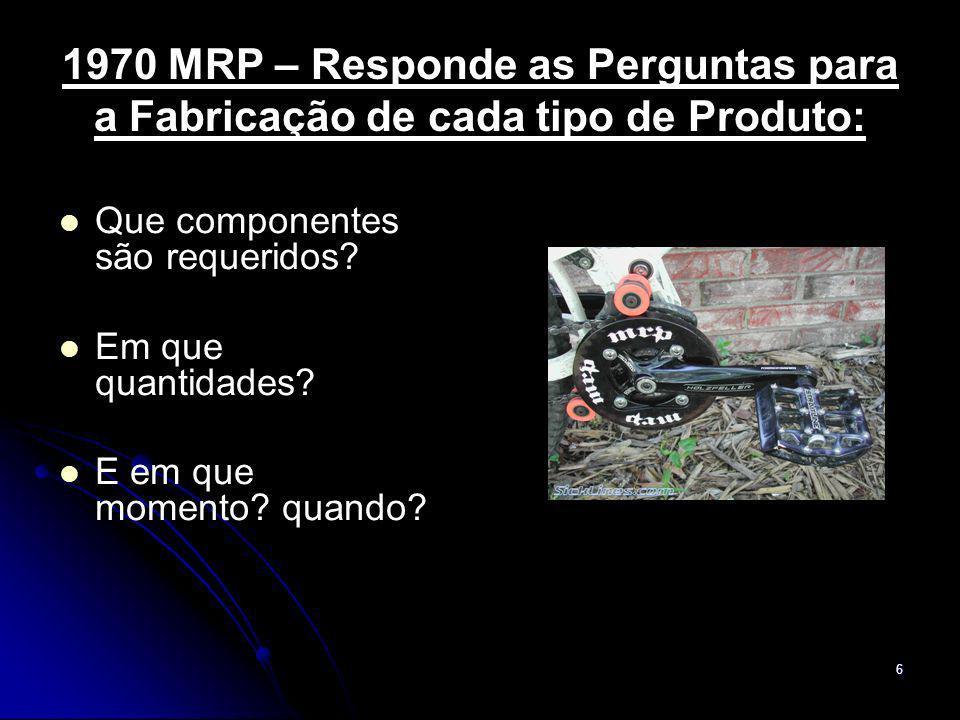 7 1980 MRPII – Integração dos Processos de Produção: Inclui a gestão das capacidades disponíveis para assegurar a efetiva programação da produção além da integração com os sistemas de estoque e de pedidos.
