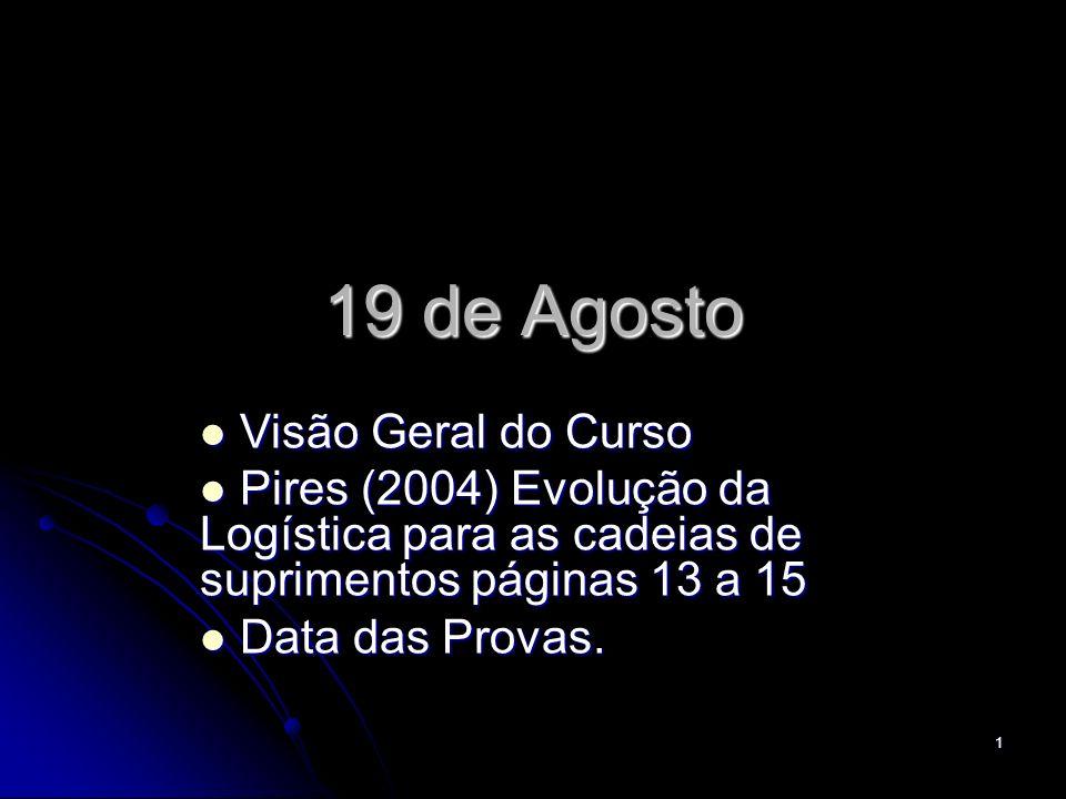 1 19 de Agosto Visão Geral do Curso Visão Geral do Curso Pires (2004) Evolução da Logística para as cadeias de suprimentos páginas 13 a 15 Pires (2004