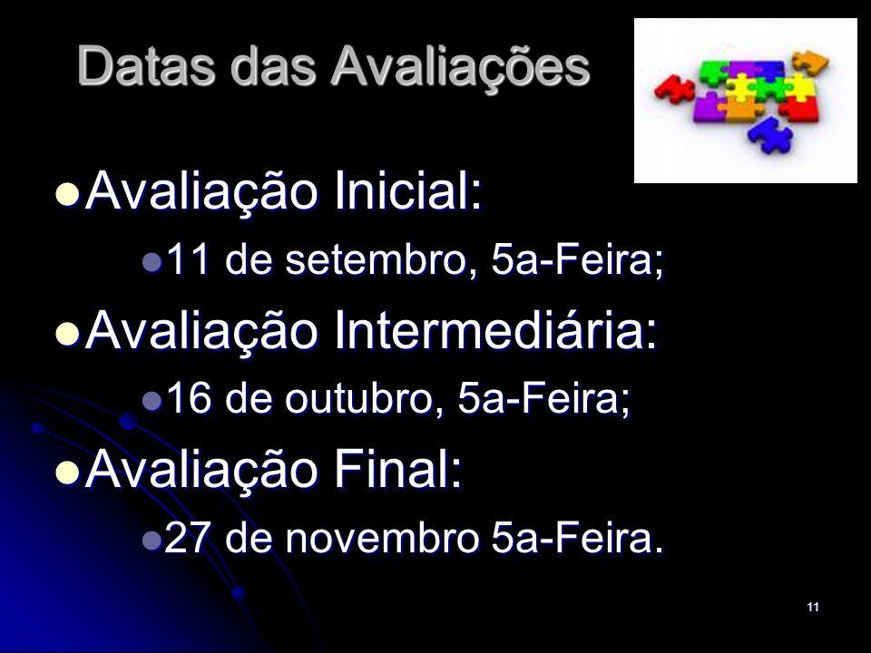 11 Datas das Avaliações Avaliação Inicial: Avaliação Inicial: 11 de setembro, 5a-Feira; 11 de setembro, 5a-Feira; Avaliação Intermediária: Avaliação I