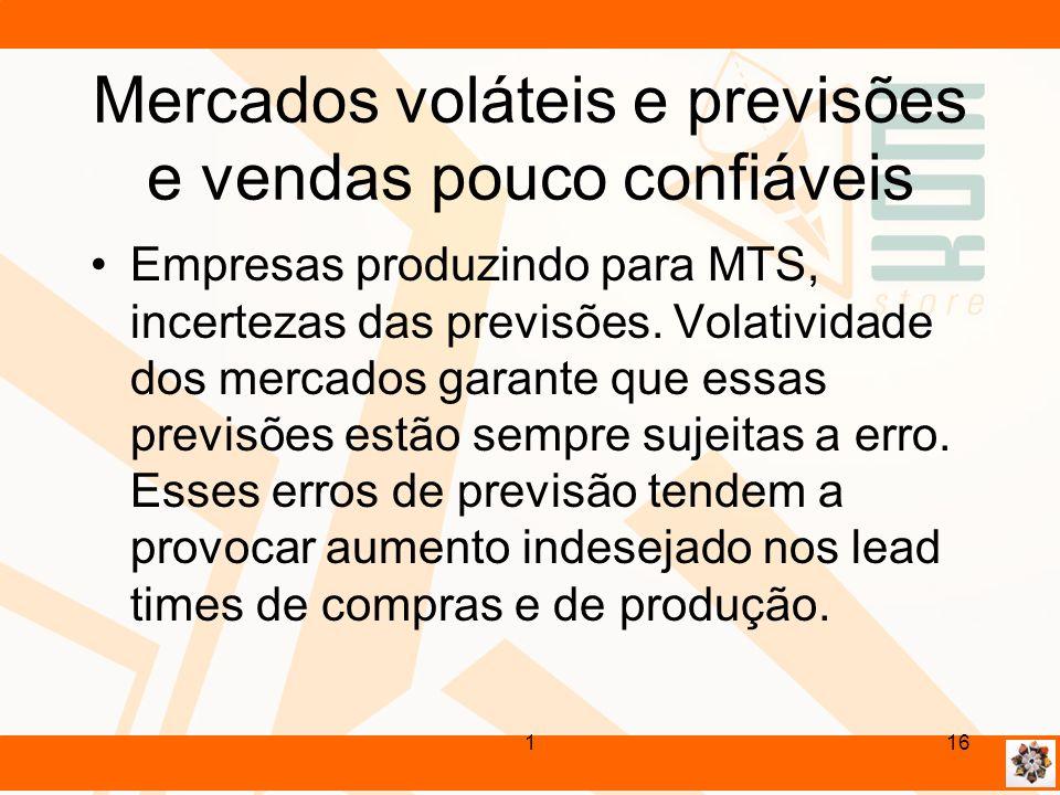 Mercados voláteis e previsões e vendas pouco confiáveis Empresas produzindo para MTS, incertezas das previsões. Volatividade dos mercados garante que