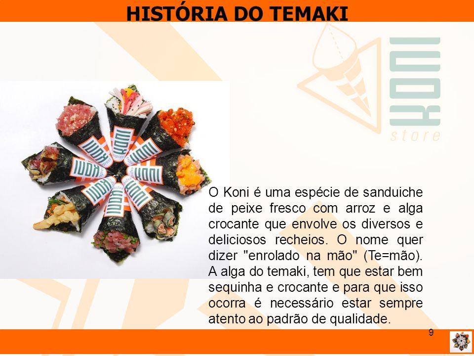 9 HISTÓRIA DO TEMAKI O Koni é uma espécie de sanduiche de peixe fresco com arroz e alga crocante que envolve os diversos e deliciosos recheios. O nome