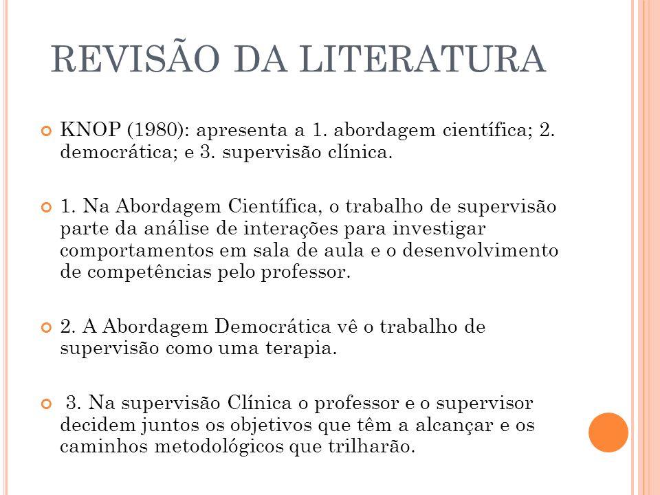 REVISÃO DA LITERATURA KNOP (1980): apresenta a 1. abordagem científica; 2. democrática; e 3. supervisão clínica. 1. Na Abordagem Científica, o trabalh