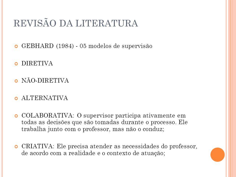 REVISÃO DA LITERATURA GEBHARD (1984) - 05 modelos de supervisão DIRETIVA NÃO-DIRETIVA ALTERNATIVA COLABORATIVA: O supervisor participa ativamente em t