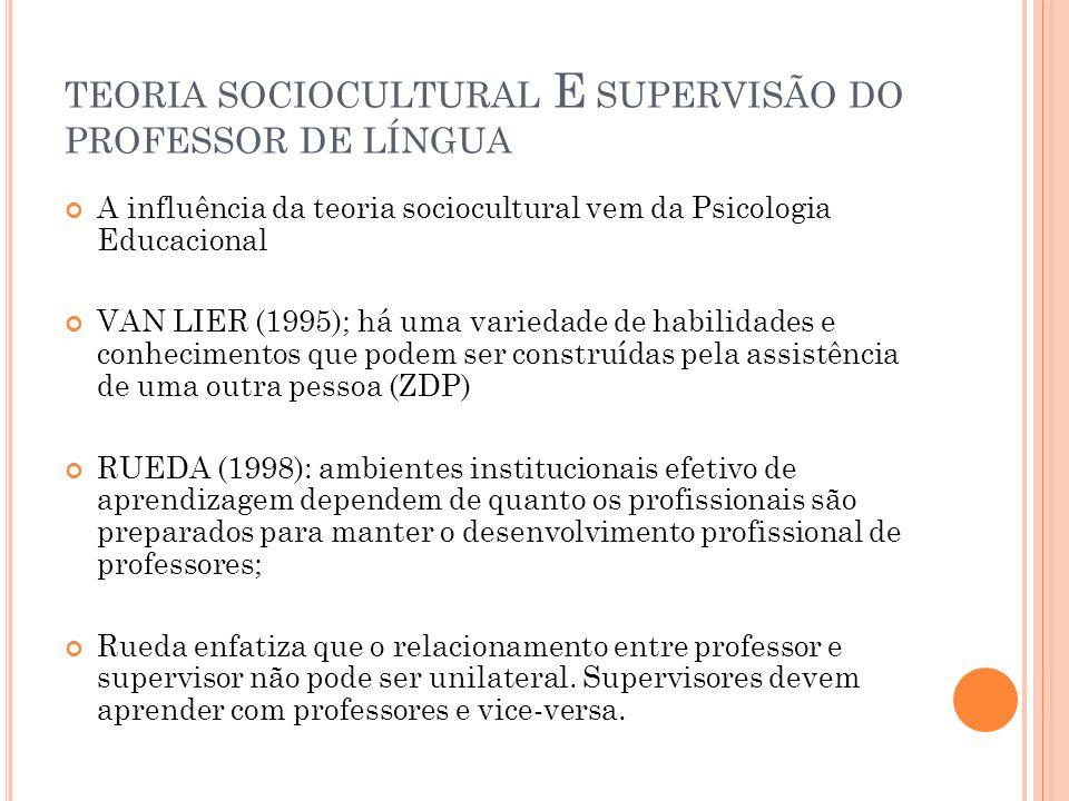 TEORIA SOCIOCULTURAL E SUPERVISÃO DO PROFESSOR DE LÍNGUA A influência da teoria sociocultural vem da Psicologia Educacional VAN LIER (1995); há uma va