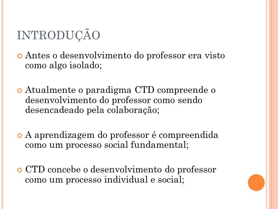 INTRODUÇÃO Antes o desenvolvimento do professor era visto como algo isolado; Atualmente o paradigma CTD compreende o desenvolvimento do professor como