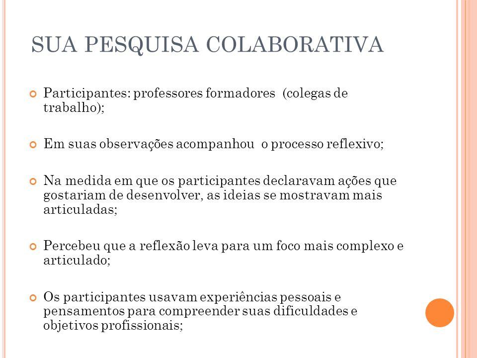 SUA PESQUISA COLABORATIVA Participantes: professores formadores (colegas de trabalho); Em suas observações acompanhou o processo reflexivo; Na medida