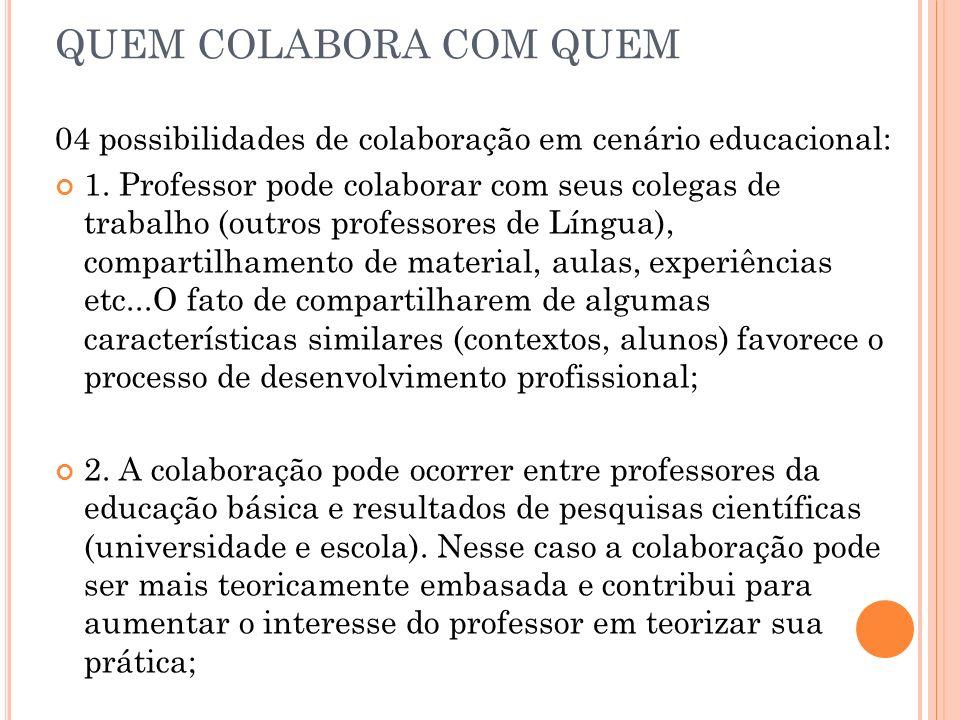 QUEM COLABORA COM QUEM 04 possibilidades de colaboração em cenário educacional: 1. Professor pode colaborar com seus colegas de trabalho (outros profe