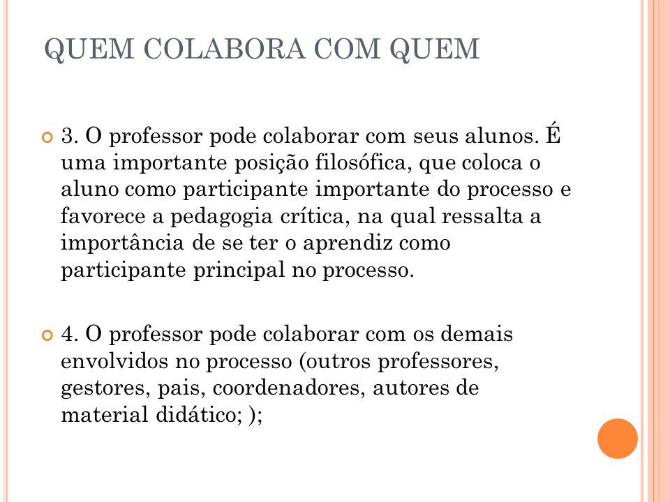QUEM COLABORA COM QUEM 3. O professor pode colaborar com seus alunos. É uma importante posição filosófica, que coloca o aluno como participante import
