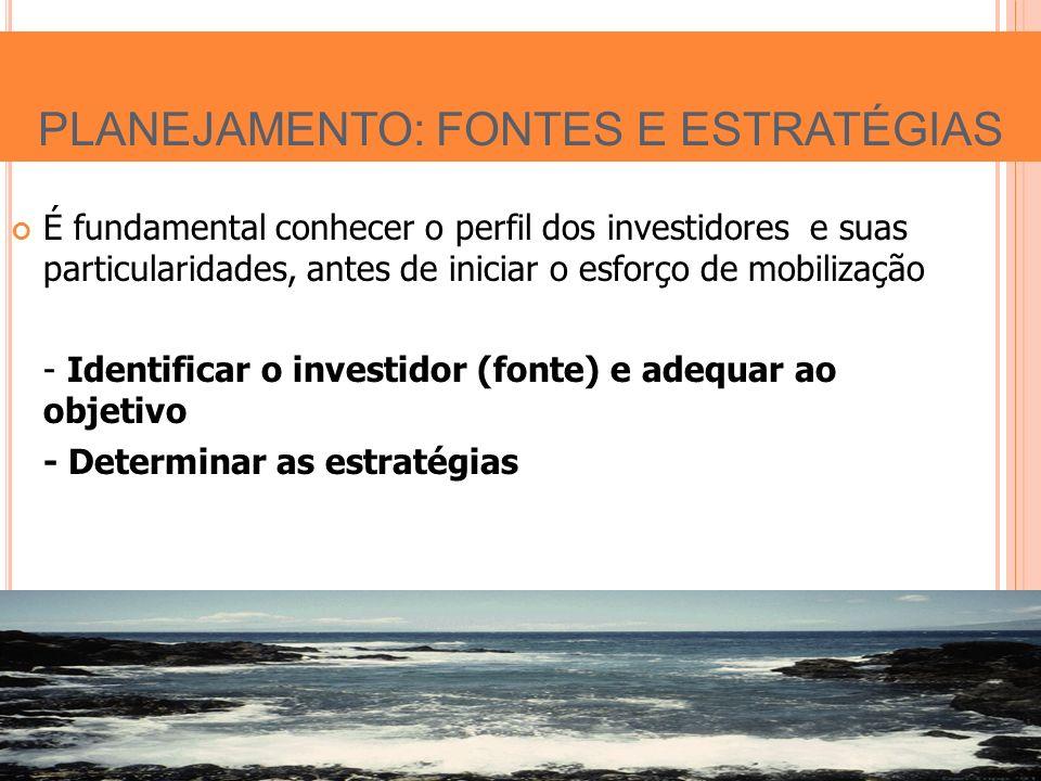 É fundamental conhecer o perfil dos investidores e suas particularidades, antes de iniciar o esforço de mobilização - Identificar o investidor (fonte) e adequar ao objetivo - Determinar as estratégias PLANEJAMENTO: FONTES E ESTRATÉGIAS