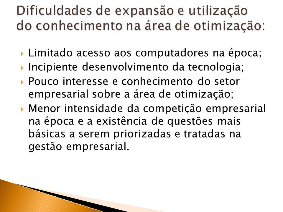 Limitado acesso aos computadores na época; Incipiente desenvolvimento da tecnologia; Pouco interesse e conhecimento do setor empresarial sobre a área
