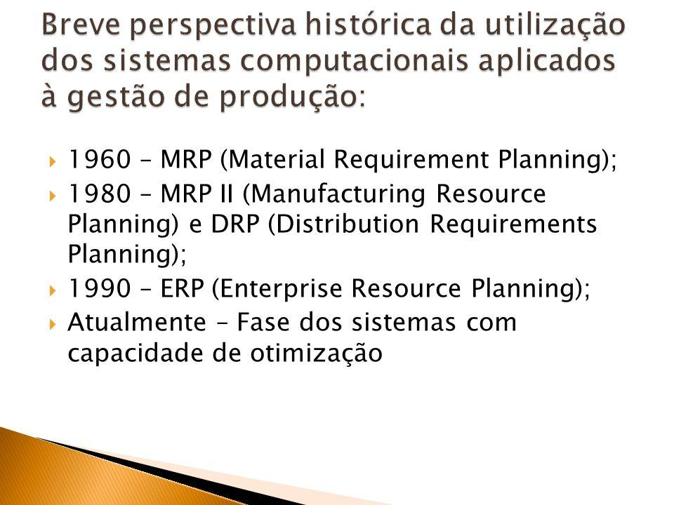 1960 – MRP (Material Requirement Planning); 1980 – MRP II (Manufacturing Resource Planning) e DRP (Distribution Requirements Planning); 1990 – ERP (Enterprise Resource Planning); Atualmente – Fase dos sistemas com capacidade de otimização