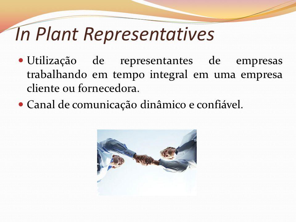 In Plant Representatives Utilização de representantes de empresas trabalhando em tempo integral em uma empresa cliente ou fornecedora. Canal de comuni