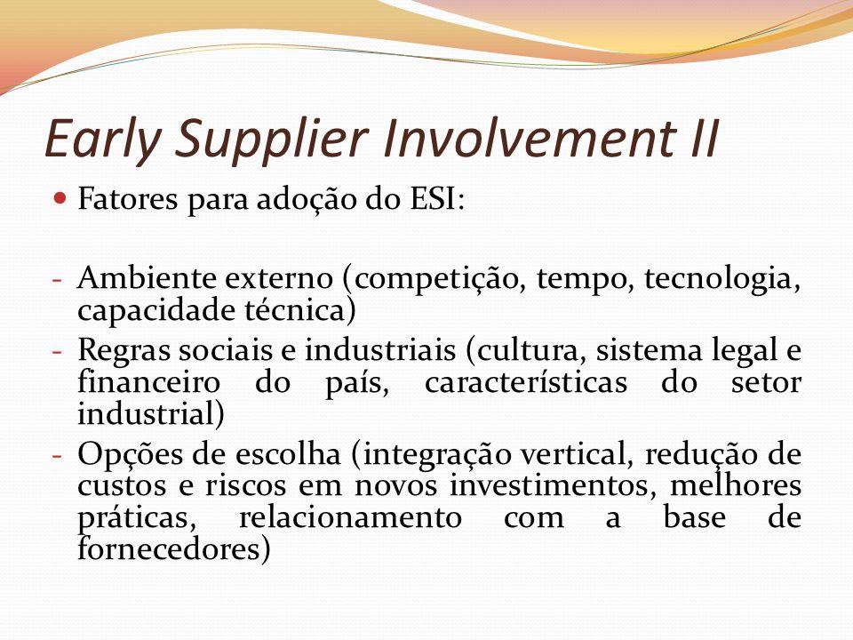 Early Supplier Involvement II Fatores para adoção do ESI: - Ambiente externo (competição, tempo, tecnologia, capacidade técnica) - Regras sociais e in