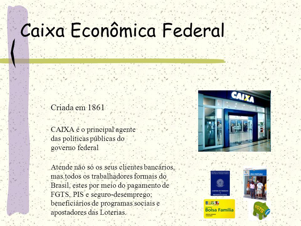 Caixa Econômica Federal Criada em 1861 CAIXA é o principal agente das políticas públicas do governo federal Atende não só os seus clientes bancários,