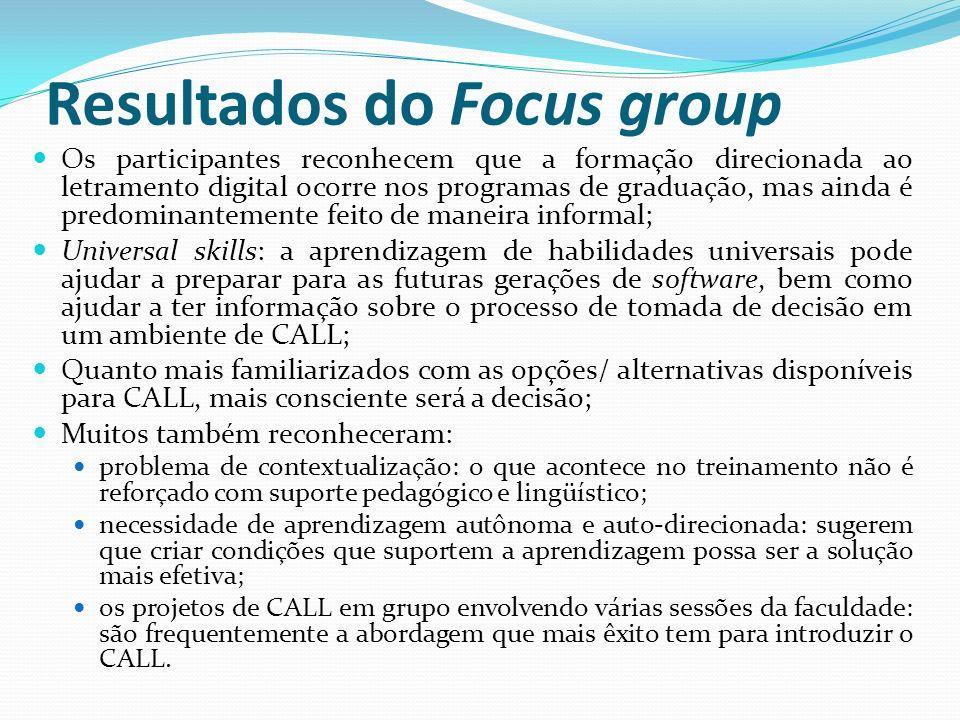 Resultados do Focus group Os participantes reconhecem que a formação direcionada ao letramento digital ocorre nos programas de graduação, mas ainda é