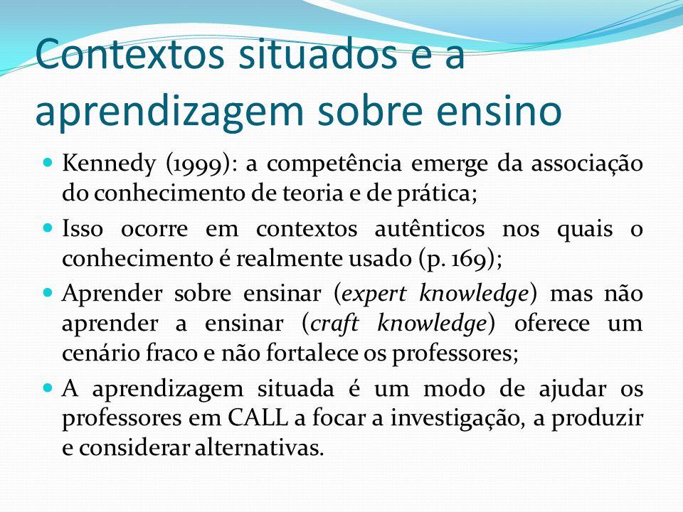 Contextos situados e a aprendizagem sobre ensino Kennedy (1999): a competência emerge da associação do conhecimento de teoria e de prática; Isso ocorr