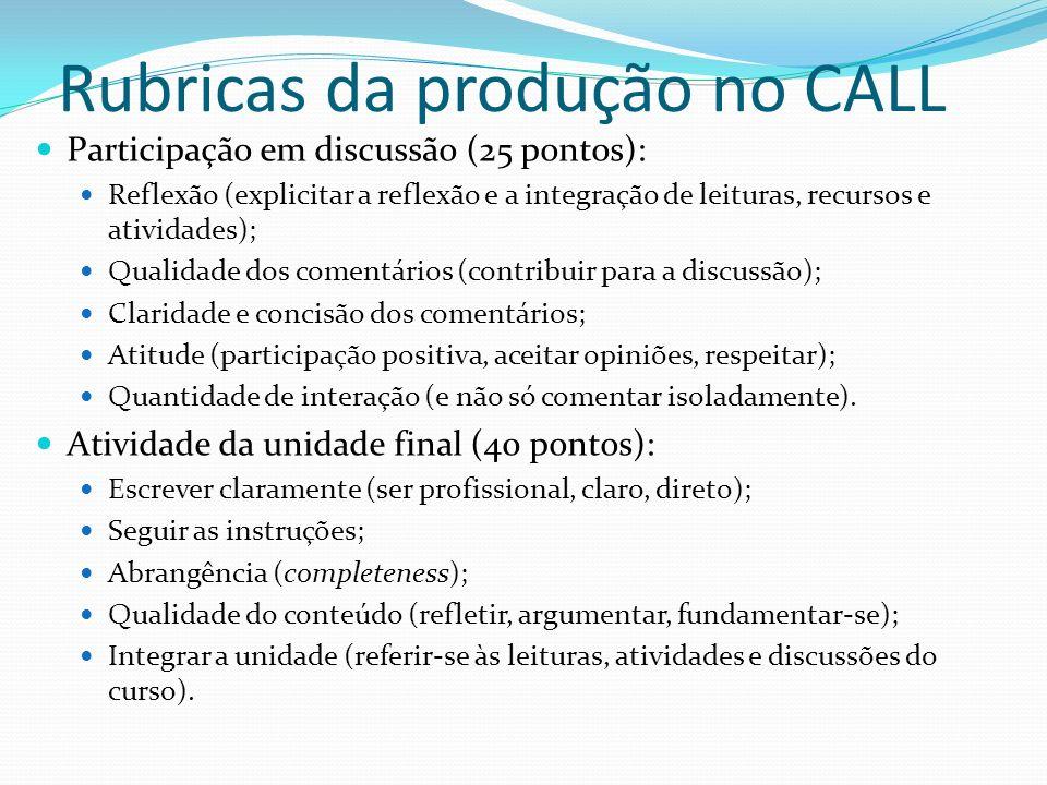 Rubricas da produção no CALL Participação em discussão (25 pontos): Reflexão (explicitar a reflexão e a integração de leituras, recursos e atividades)