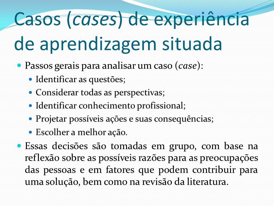 Casos (cases) de experiência de aprendizagem situada Passos gerais para analisar um caso (case): Identificar as questões; Considerar todas as perspect