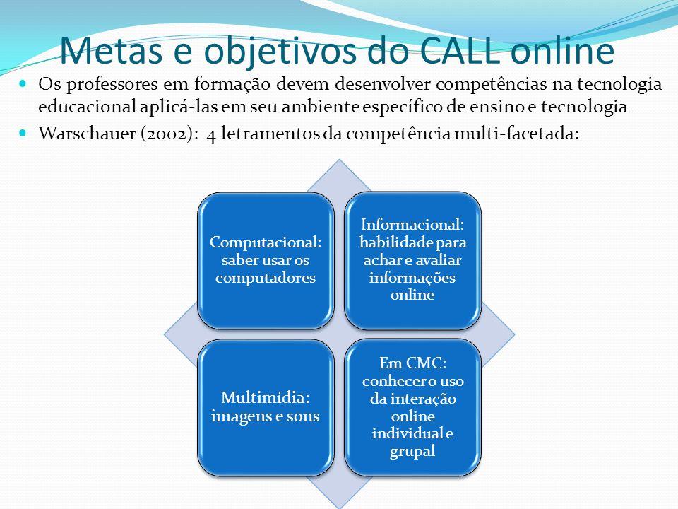 Metas e objetivos do CALL online Os professores em formação devem desenvolver competências na tecnologia educacional aplicá-las em seu ambiente especí