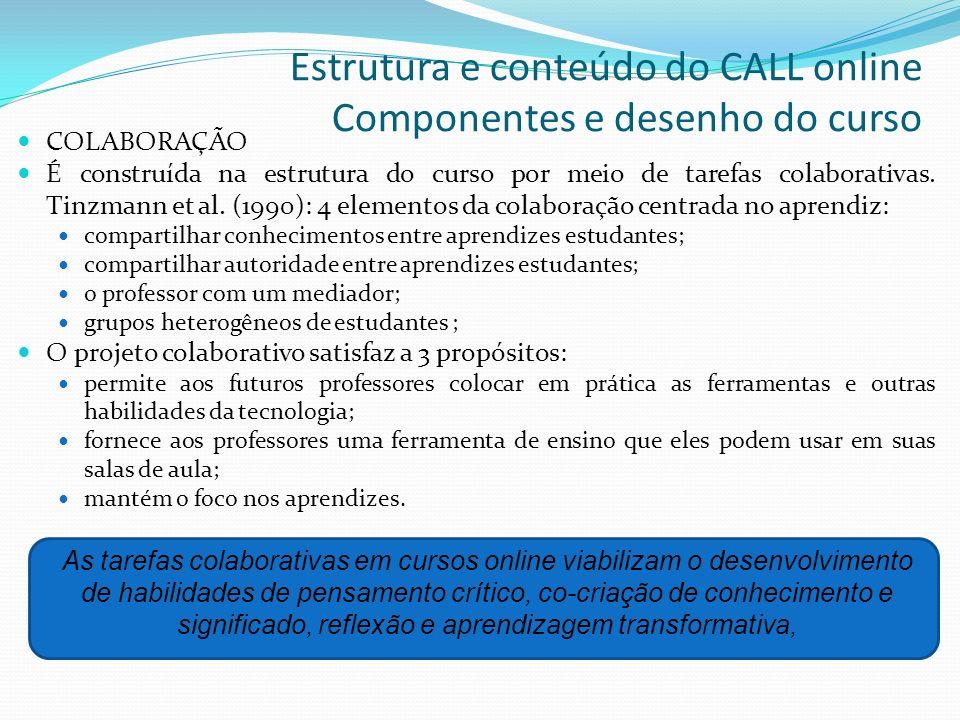 Estrutura e conteúdo do CALL online Componentes e desenho do curso COLABORAÇÃO É construída na estrutura do curso por meio de tarefas colaborativas. T