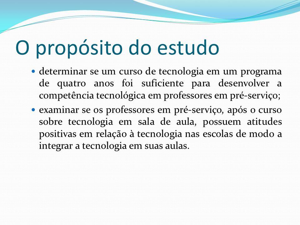 O propósito do estudo determinar se um curso de tecnologia em um programa de quatro anos foi suficiente para desenvolver a competência tecnológica em