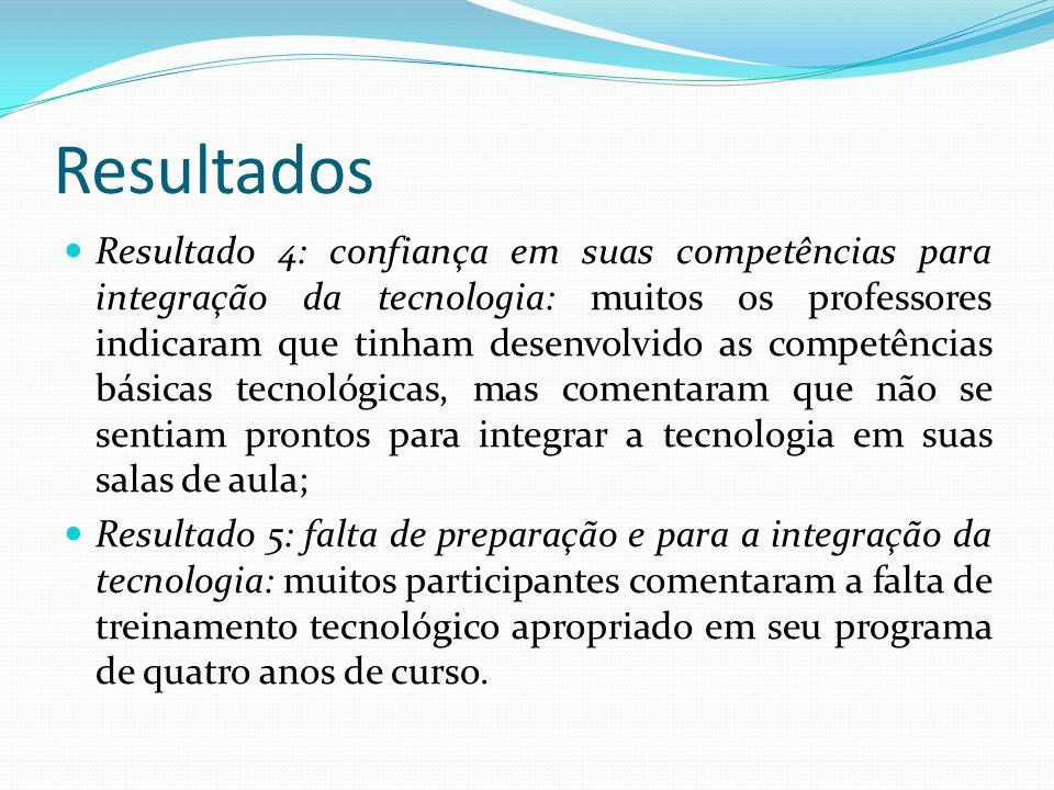 Resultados Resultado 4: confiança em suas competências para integração da tecnologia: muitos os professores indicaram que tinham desenvolvido as compe