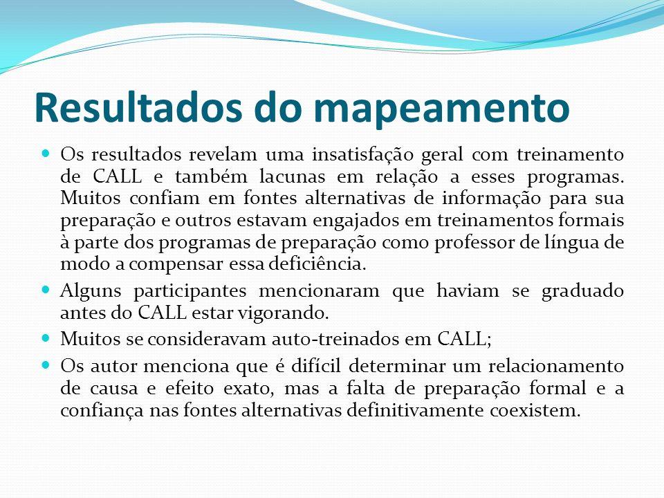 Avaliando a situação (situatedness) do CALL em cursos online.