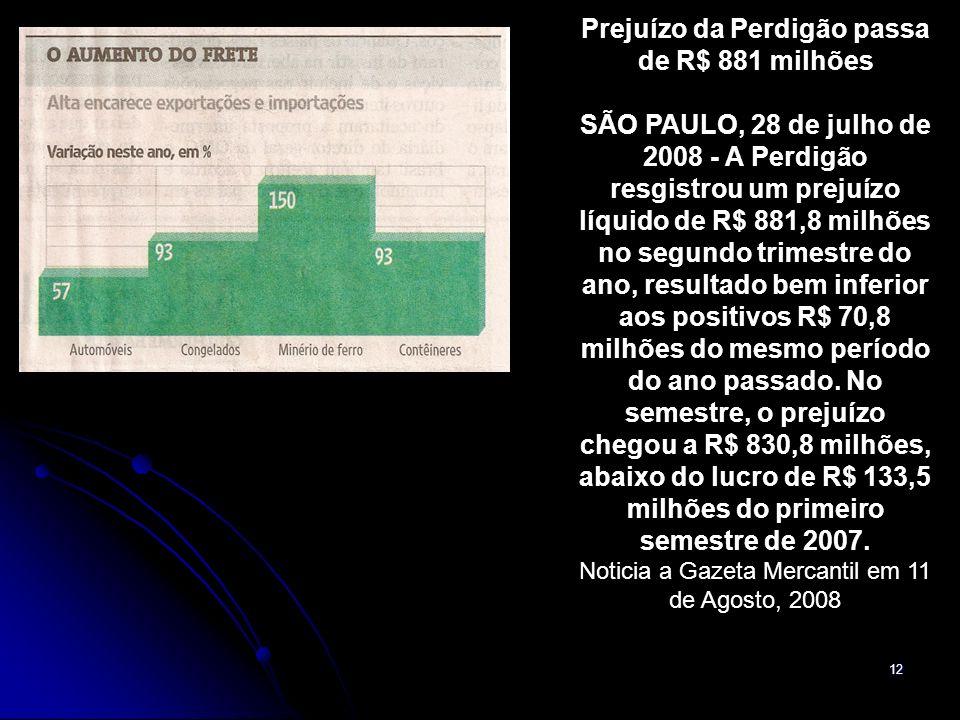 12 Prejuízo da Perdigão passa de R$ 881 milhões SÃO PAULO, 28 de julho de 2008 - A Perdigão resgistrou um prejuízo líquido de R$ 881,8 milhões no segundo trimestre do ano, resultado bem inferior aos positivos R$ 70,8 milhões do mesmo período do ano passado.