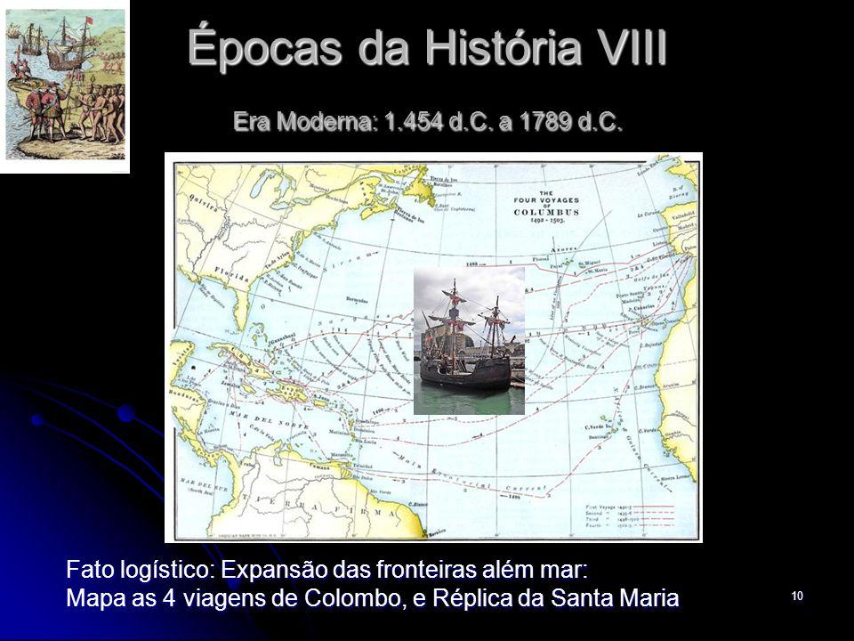 10 Épocas da História VIII Era Moderna: 1.454 d.C. a 1789 d.C. Fato logístico: Expansão das fronteiras além mar: Mapa as 4 viagens de Colombo, e Répli