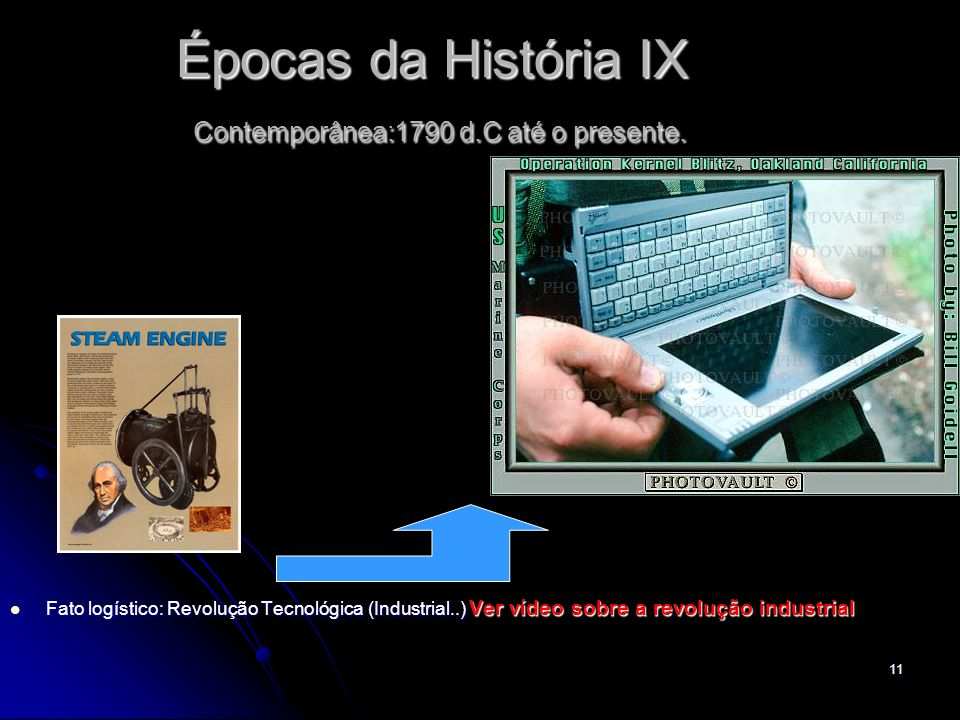 11 Épocas da História IX Contemporânea:1790 d.C até o presente. Fato logístico: Revolução Tecnológica (Industrial..) Ver vídeo sobre a revolução indus