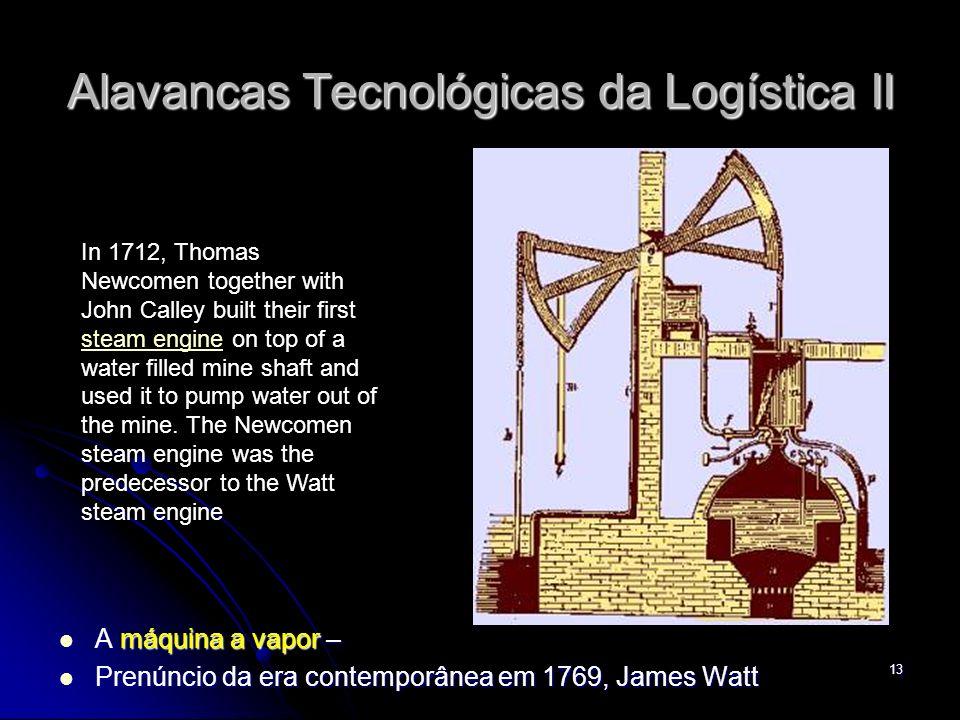 13 Alavancas Tecnológicas da Logística II A máquina a vapor – A máquina a vapor – Prenúncio da era contemporânea em 1769, James Watt Prenúncio da era