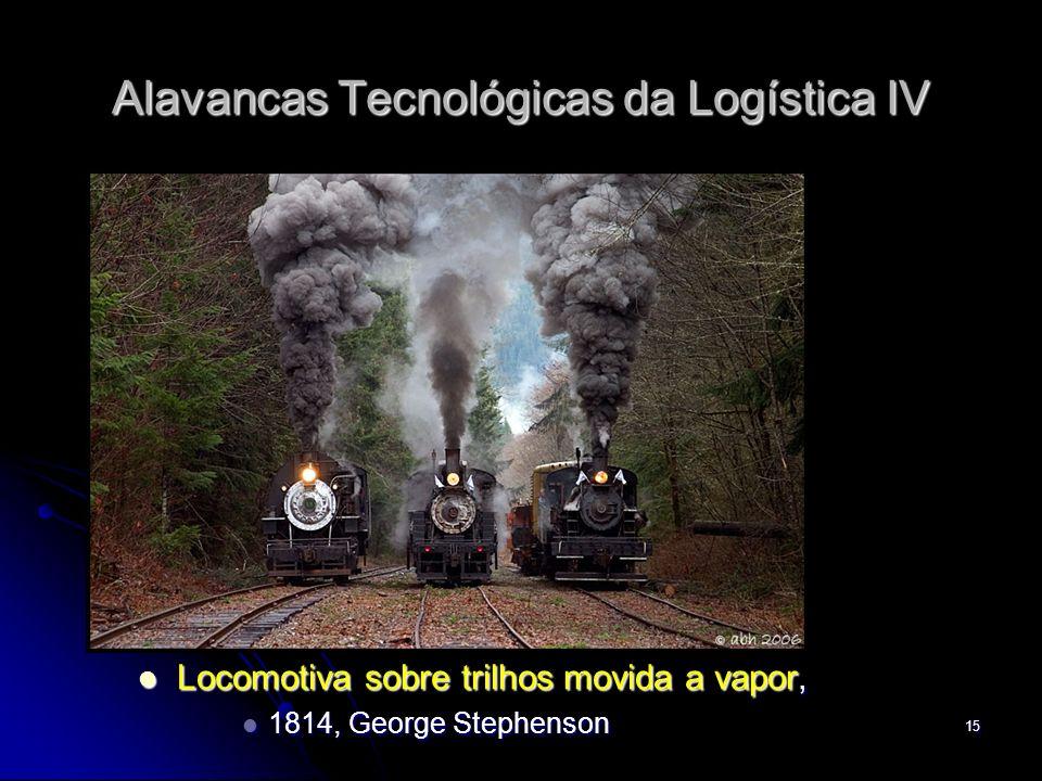15 Alavancas Tecnológicas da Logística IV Locomotiva sobre trilhos movida a vapor, Locomotiva sobre trilhos movida a vapor, 1814, George Stephenson 18
