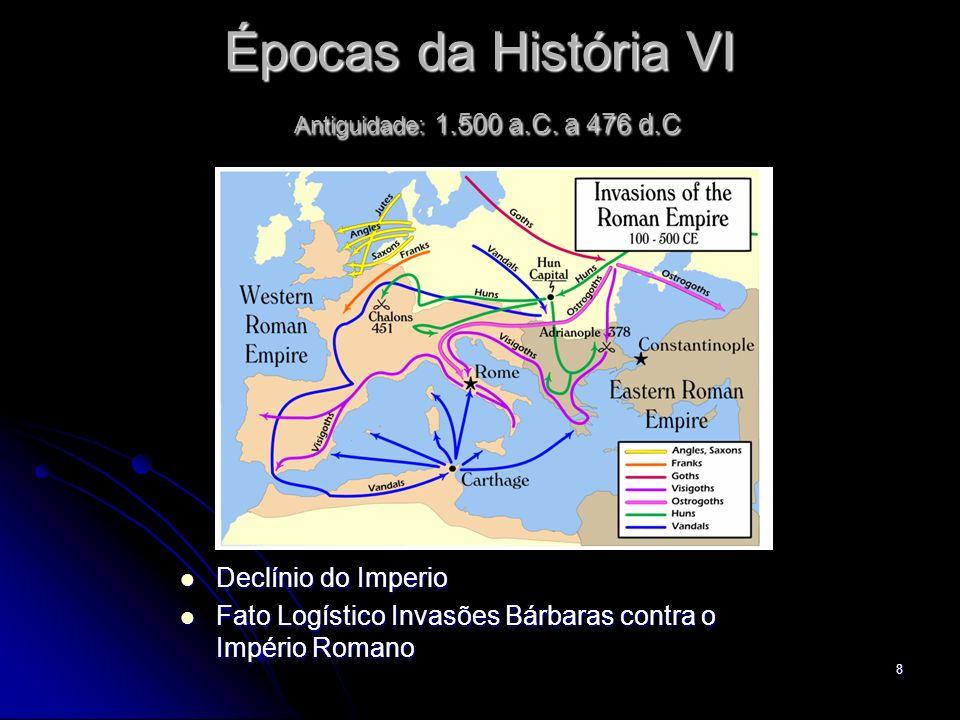8 Épocas da História VI Antiguidade: 1.500 a.C. a 476 d.C Declínio do Imperio Declínio do Imperio Fato Logístico Invasões Bárbaras contra o Império Ro