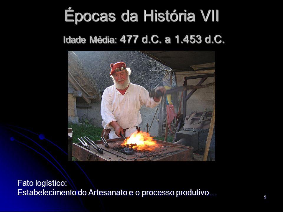 9 Épocas da História VII Idade Média: 477 d.C. a 1.453 d.C. Fato logístico: Estabelecimento do Artesanato e o processo produtivo…