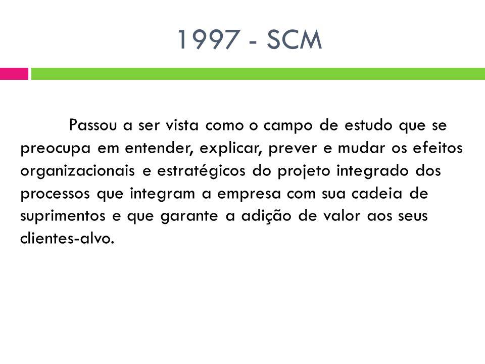 1997 - SCM Passou a ser vista como o campo de estudo que se preocupa em entender, explicar, prever e mudar os efeitos organizacionais e estratégicos do projeto integrado dos processos que integram a empresa com sua cadeia de suprimentos e que garante a adição de valor aos seus clientes-alvo.