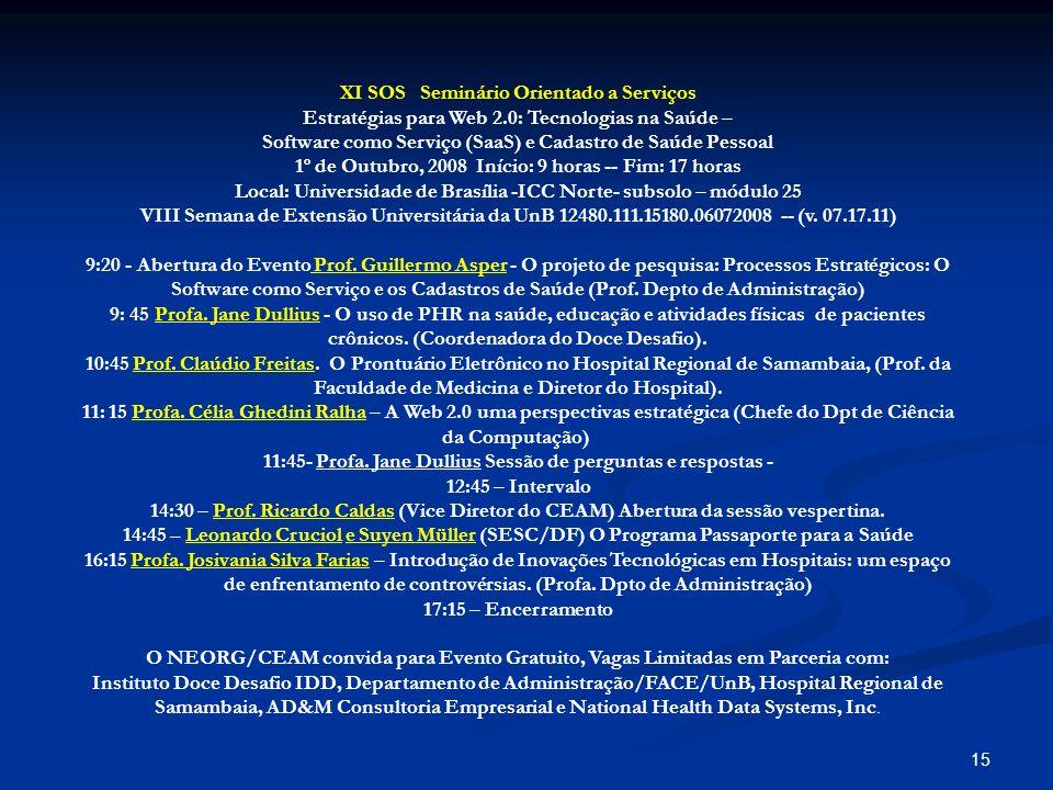 14 Implementação de Piloto na Web em apoio à Estratégia de Inovação: Processos e Tecnologias para Preservação da Saúde (IPS) IS Action Research PH R Web 2.0 SaaS Situação do Desenvolvimento em Outubro, 2008
