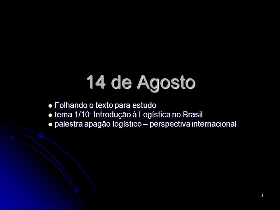 1 14 de Agosto Folhando o texto para estudo Folhando o texto para estudo tema 1/10: Introdução à Logística no Brasil tema 1/10: Introdução à Logística no Brasil palestra apagão logístico – perspectiva internacional palestra apagão logístico – perspectiva internacional