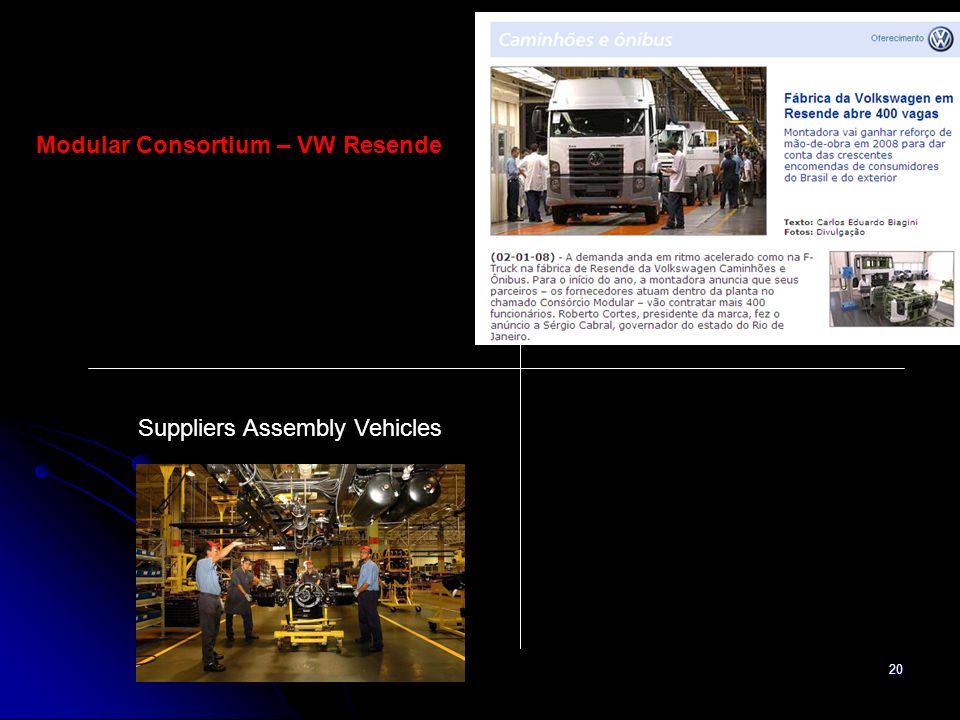 20 Suppliers Assembly Vehicles Modular Consortium – VW Resende