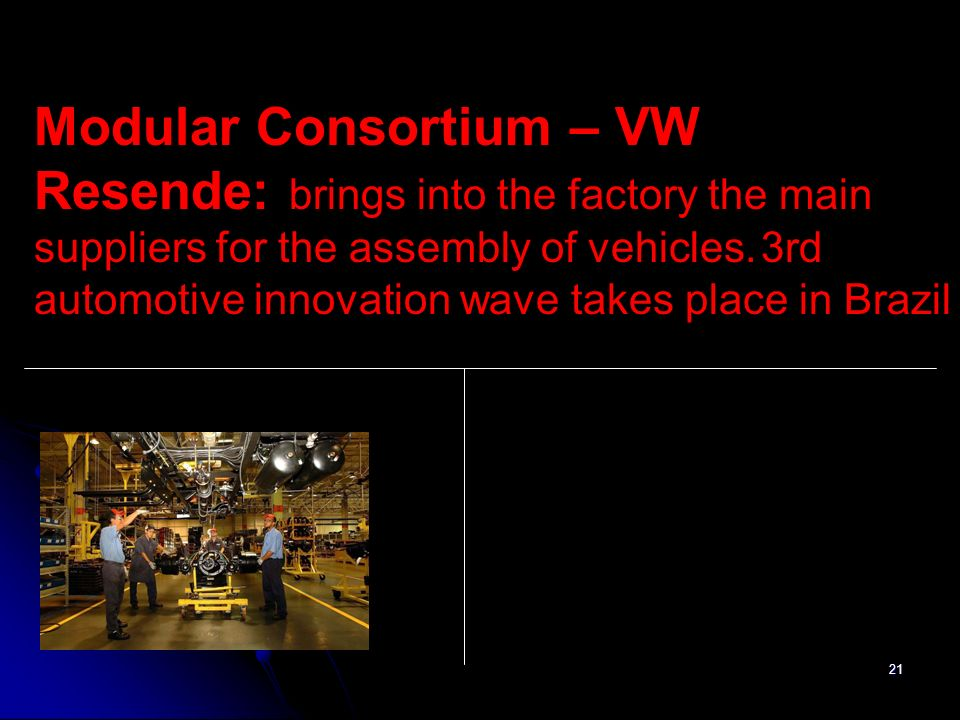 21 Modular Consortium – VW Resende: brings into the factory the main suppliers for the assembly of vehicles. 3rd automotive innovation wave takes plac