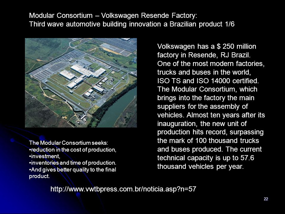22 Volkswagen has a $ 250 million factory in Resende, RJ Brazil. One of the most modern factories, trucks and buses in the world, ISO TS and ISO 14000